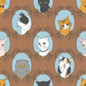 papel-de-parede-adesivo-retro-marrom-quarto-gatos