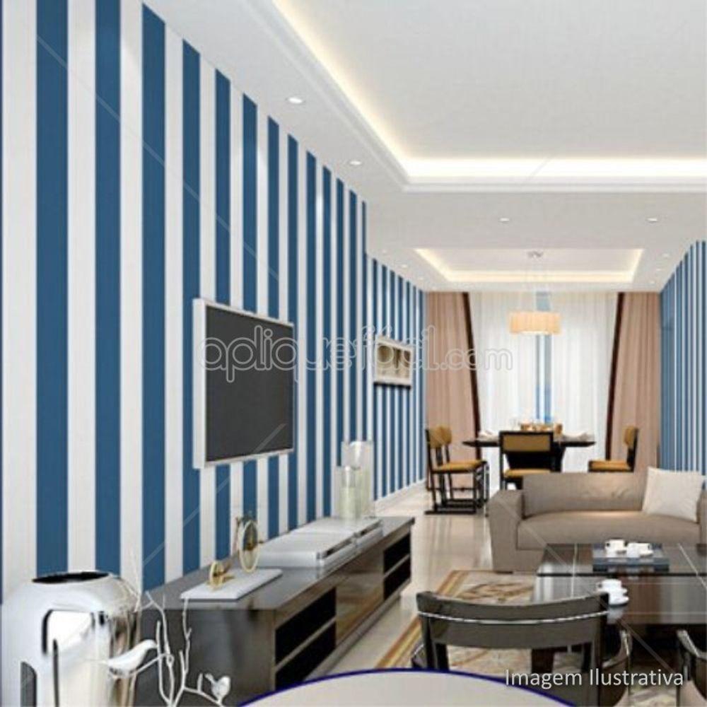 438d54891 Papel De Parede Adesivo Listrado Vertical Azul E Branco Sala De Tv ...