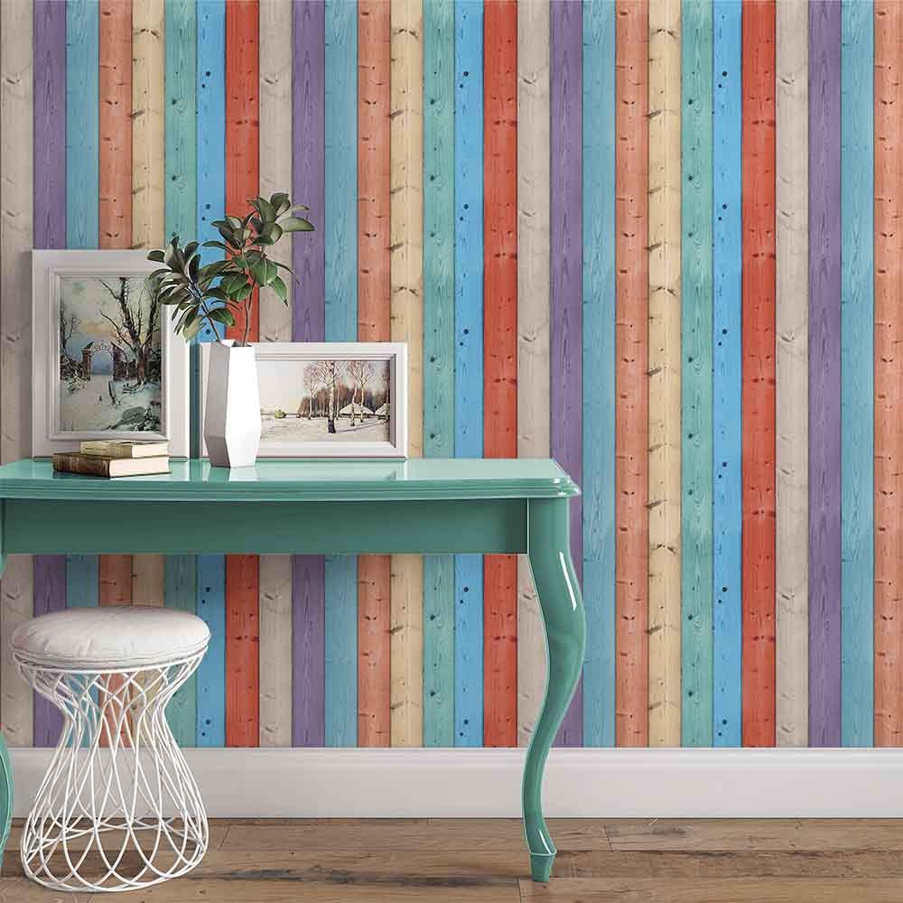 803b27074 Papel De Parede Adesivo Madeira Colours Sala Alegria - apliquefacil