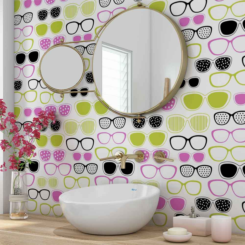 2d4a7d414 Papel De Parede Adesivo Quarto Teen Colorido Oculos Estampados ...