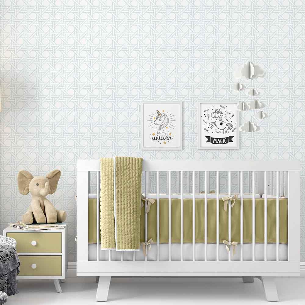 29a627a64 Papel De Parede Adesivo Quarto De Bebê Palha Azul Kyara - apliquefacil